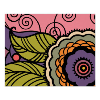 MAY FLOWER - LOVELY ART DECO FLORAL POSTER