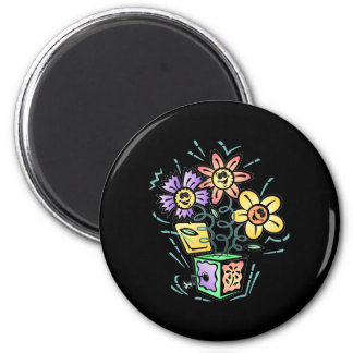 May Flowers Jack in the Box 2 Inch Round Magnet