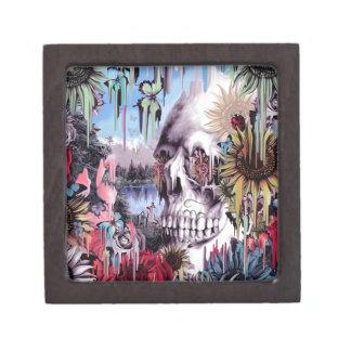 May flowers, melting landscape skull jewelry box