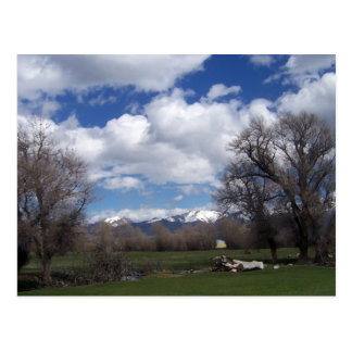 May Fluffy Clouds, Pasture And Mountains Postcard