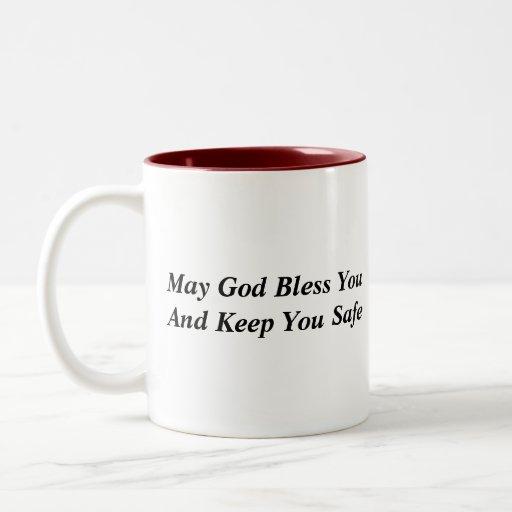 May God Bless You And Keep You Safe Two-Tone Coffee Mug