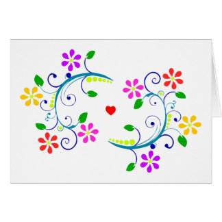 May God Bless You, with Flowers, Swirls, & a Heart Card