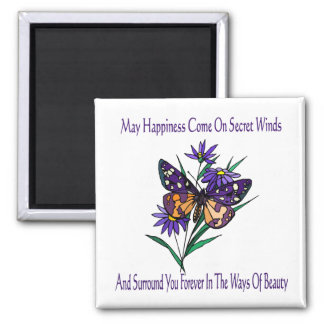 May Happiness Come 2 Inch Square Magnet
