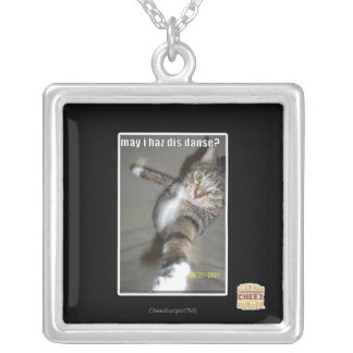 may I haz dis dance? Square Pendant Necklace