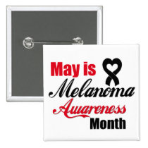 May is Melanoma Awareness Month Ribbon 2 Inch Square Button
