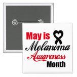 May is Melanoma Awareness Month Ribbon Pinback Button