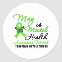 May is Mental Health Awareness Month Classic Round Sticker