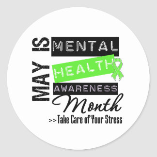 May - Mental Health Awareness Month Round Stickers