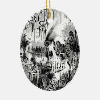 May showers melting floral skull in grey ceramic ornament