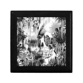 May showers melting floral skull in grey jewelry box