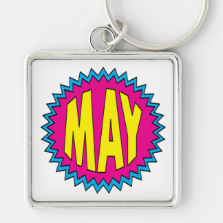 May Silver-Colored Square Keychain