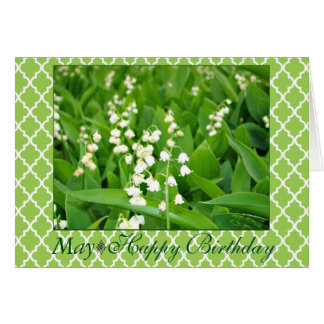 May Stunning White Lily of the Valley Birthday Card
