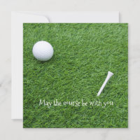 May the course be with you with golf ball and tee holiday card