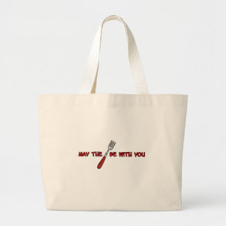 may the fork be with you large tote bag