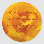 May the richness of God's Blessings Classic Round Sticker