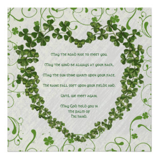 May the road rise to meet you Irish Blessing Poster