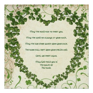 May the road rise to meet you Irish Blessing Print