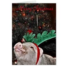 May The Spirit Of Christmas, Pig Greeting Card at Zazzle