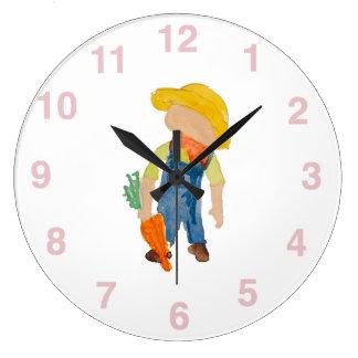 May Toddie Time Spring Planting Farmer Toddler Large Clock