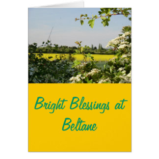May Tree and Field at Beltane Card