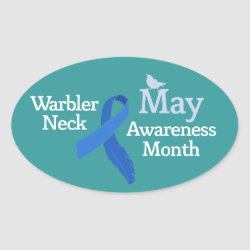 Oval Sticker with May Warbler Neck Awareness Month design