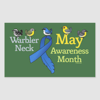 May Warbler Neck Awareness Month Rectangular Sticker
