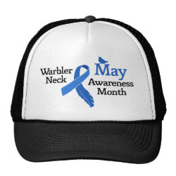 Trucker Hat with May Warbler Neck Awareness Month design