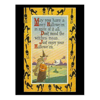 May You Have A Merry Halloween Postcard