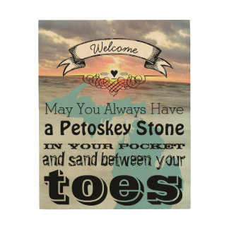 May You Have Petoskey Stone In Pocket Sand Between Wood Print