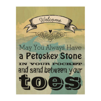 May You Have Petoskey Stone In Pocket Sand Between Wood Wall Art