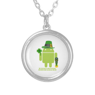 May You Live As Long As You Want Irish Bug Droid Silver Plated Necklace
