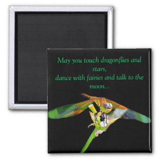 May You Touch Dragonflies 2 Inch Square Magnet