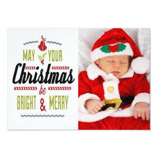 May Your Christmas Be Bright and Merry Photo Card Custom Announcements