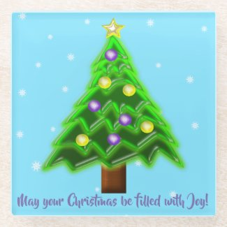 May your Christmas be filled with Joy! Glass Coaster