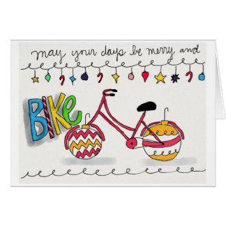 May your days be merry and bike stationery note card