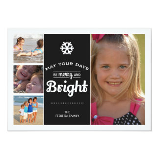 May Your Days Be Merry And Bright Christmas Photo 5x7 Paper Invitation Card