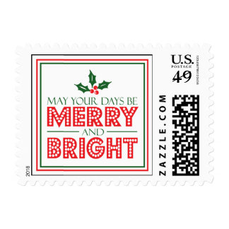 May Your Days Be Merry And Bright Christmas Postage