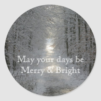 May your days be Merry and Bright Holiday Classic Round Sticker