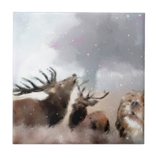 Maya and the Elk.jpg Small Square Tile