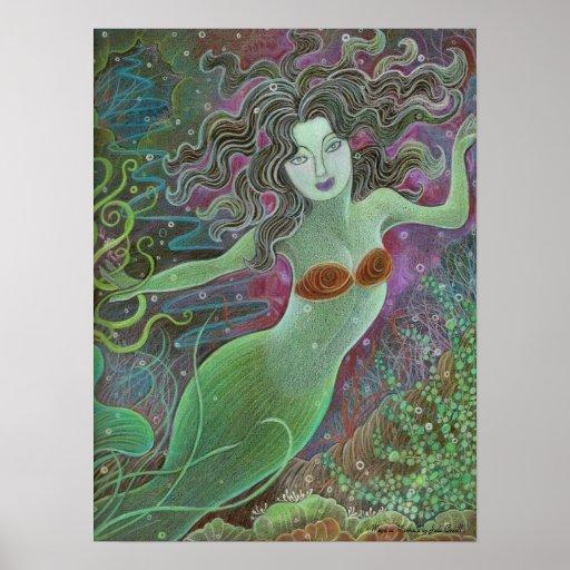 Maya as Mermaid wall art poster