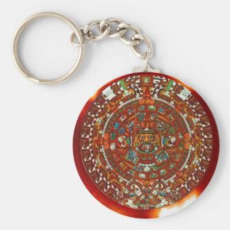 maya aztec calendar basic round button keychain