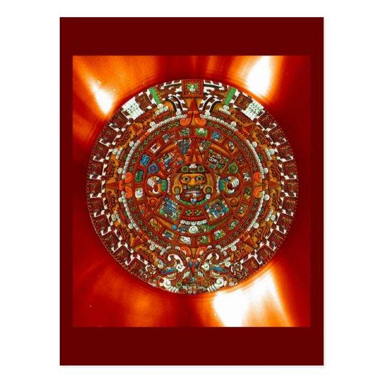 maya aztec calendar postcard