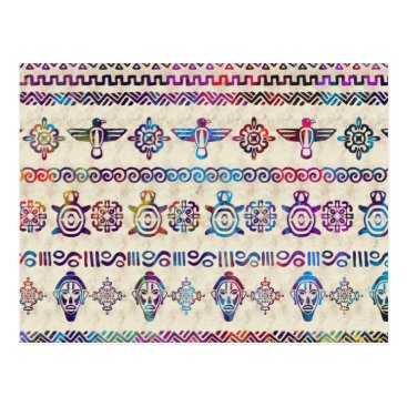 Maya / Aztec Gentle Watercolor pattern Postcard