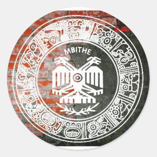 MAYA AZTEC  WALL OTOMI CUSTOMIZABLE PRODUCTS CLASSIC ROUND STICKER