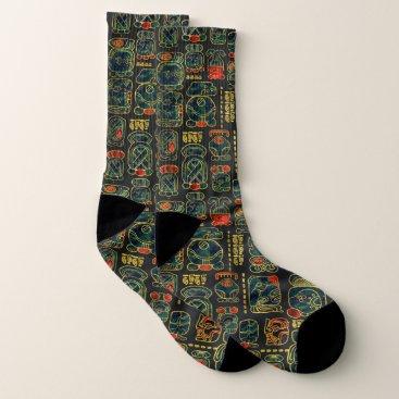 Aztec Themed Maya Calendar Glyphs pattern Socks