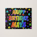 "[ Thumbnail: ""Maya"" First Name, Fun ""Happy Birthday"" Jigsaw Puzzle ]"
