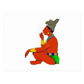Maya indio cigarro fuman postal