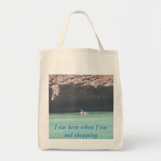 maya island canoeing 1, I am here when I am not... Tote Bag