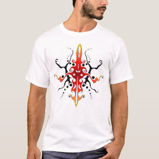 Maya Mask Tribal Tattoo - red and black T-Shirt