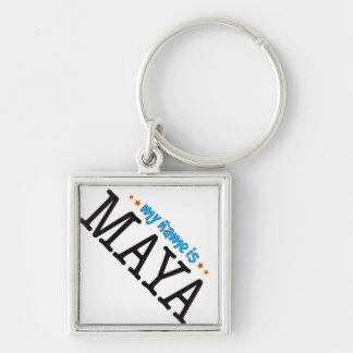 Maya Name Silver-Colored Square Keychain